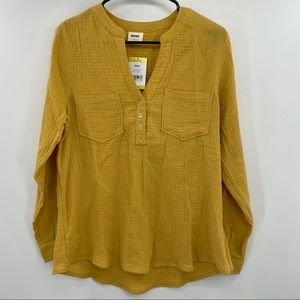Mote Yellow Long Sleeve Blouse Size M NWT